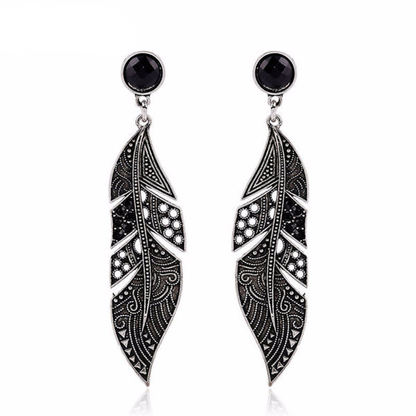 Bohemian Vintage Antique Silver Feather Earrings