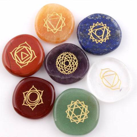 7 pieces Engraved Palm stones - Reiki and Chakra Healing - Free pouch - Awkward Turtle