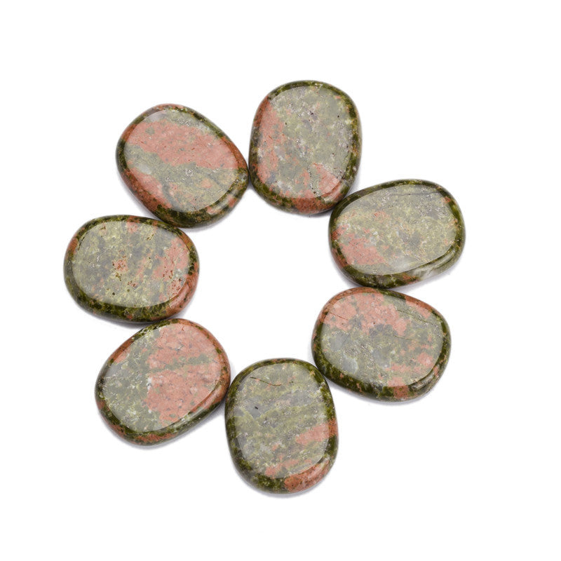7  Palm stones for Chakra and Reiki Healing - Free pouch - Awkward Turtle
