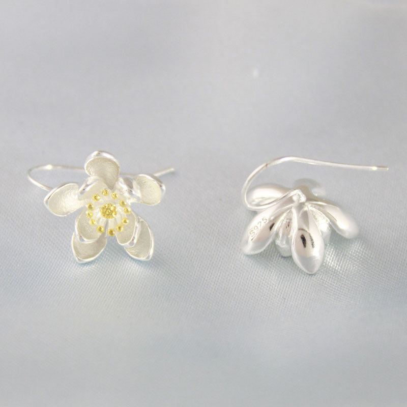 925 Sterling Silver Earrings - Flower Design - Awkward Turtle