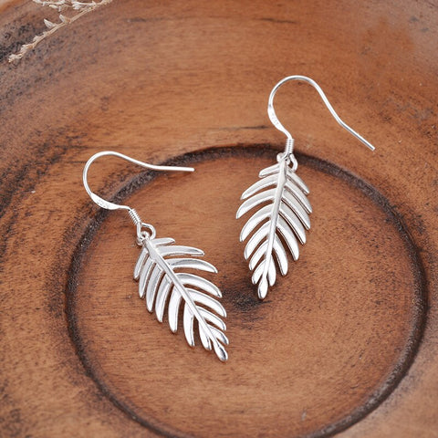 New Arrival 925 Sterling Silver Leaf Earrings - Awkward Turtle