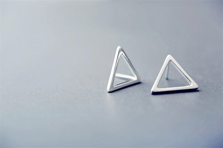 Sale 925 Sterling Silver Triangle Earrings - Awkward Turtle