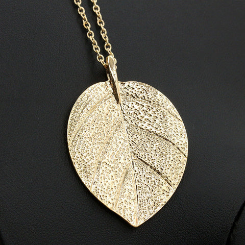Gold Plated Leaf Necklace - Awkward Turtle