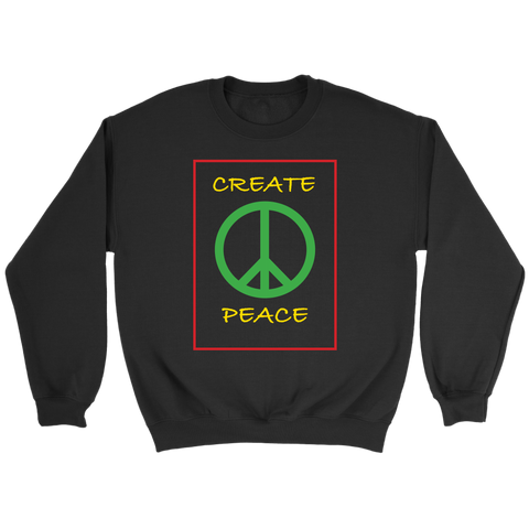 This comfy crewneck is quality on a budget.  As you wear this crewneck, you will be reminded and remind others to CREATE PEACE in yourself, your environment, and every situation you encounter.    9 ounce 50/50 cotton fleece material  Air jet yarn for a soft, pill resistant finish  Spandex in arm seams, waistband and collar