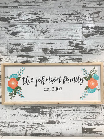 Floral Sign with Last Name and Year