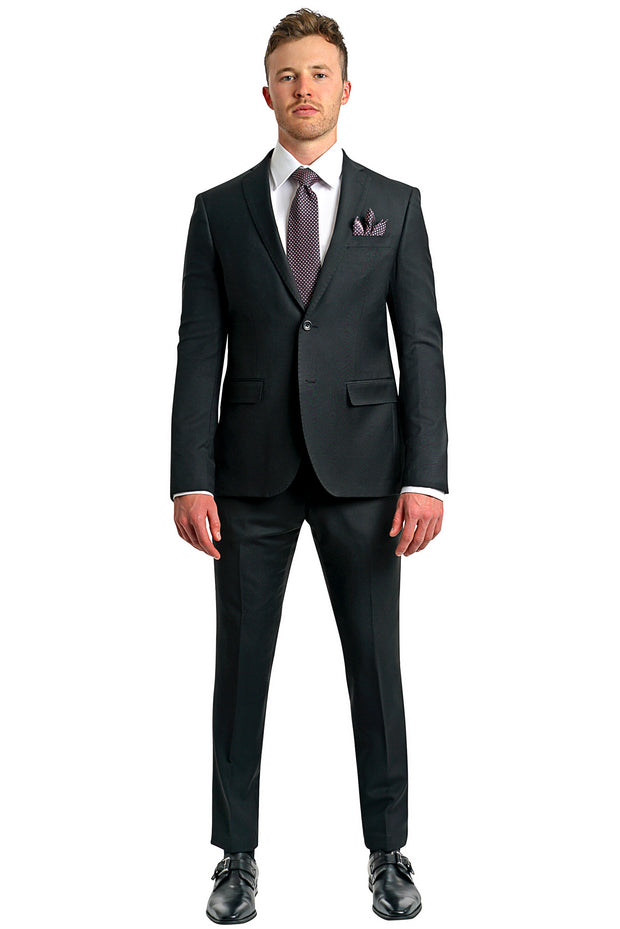 Lazarou Smooth Black Slim Suit