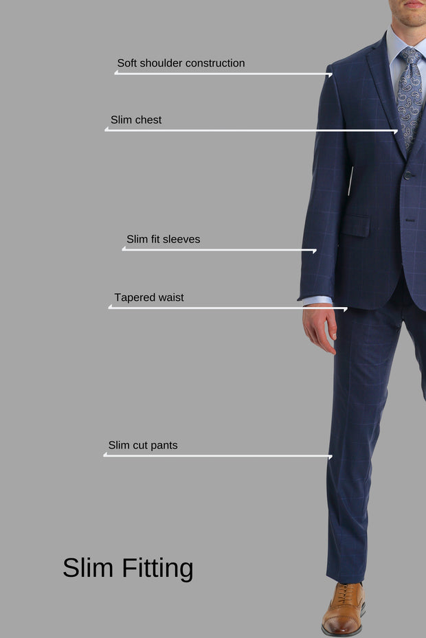 Lazarou Window Pane Stretch Suit