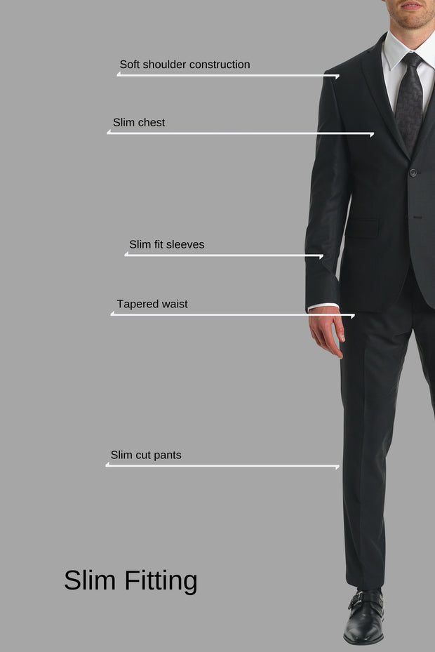 Lazarou Textured Black Slim Suit