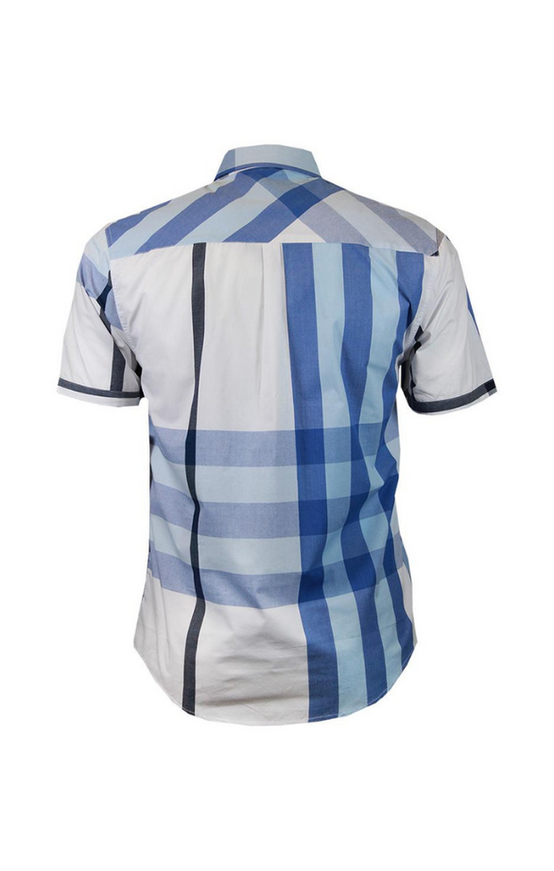 Veno Plain S/S Shirt Blue/White - Mastroianni Fashions