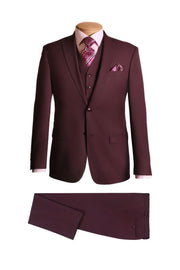 Lazarou Wine 3 Piece Modern Suit