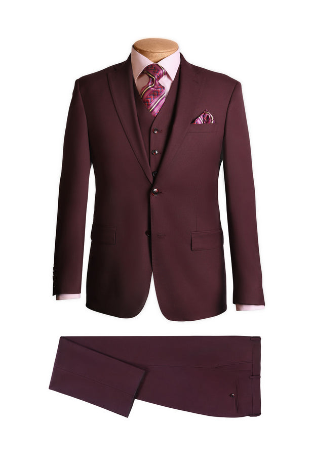 Wine 3 Piece Modern Suit - Mastroianni Fashions