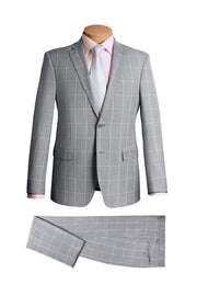 Plaid Grey Modern Suit - Mastroianni Fashions
