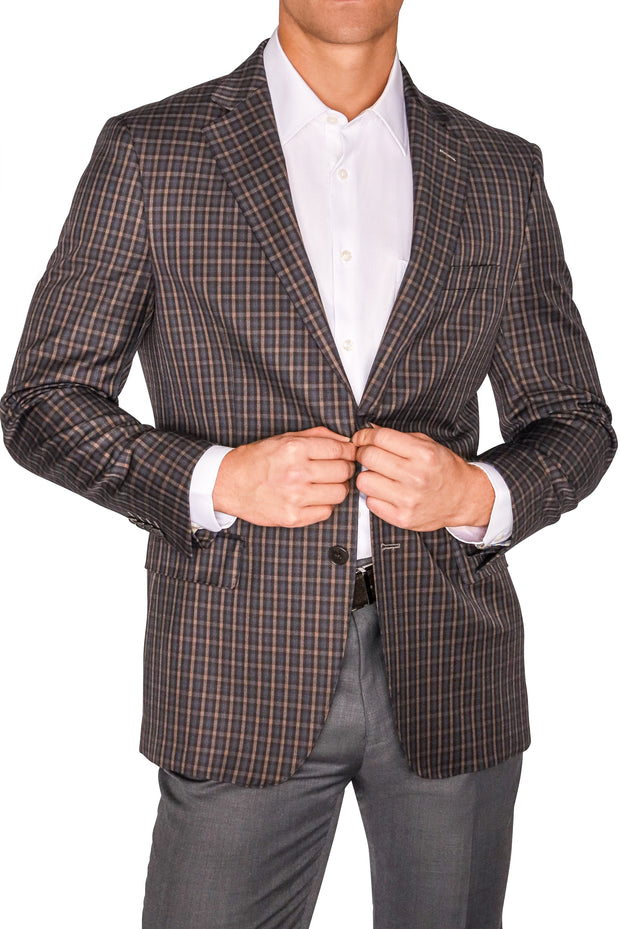 Lazarou Brown/Grey Plaid Blazer - Mastroianni Fashions