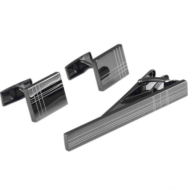Square Stripe Cufflinks Tie Clips Set-Fashion Accessories-Mastroianni Fashions