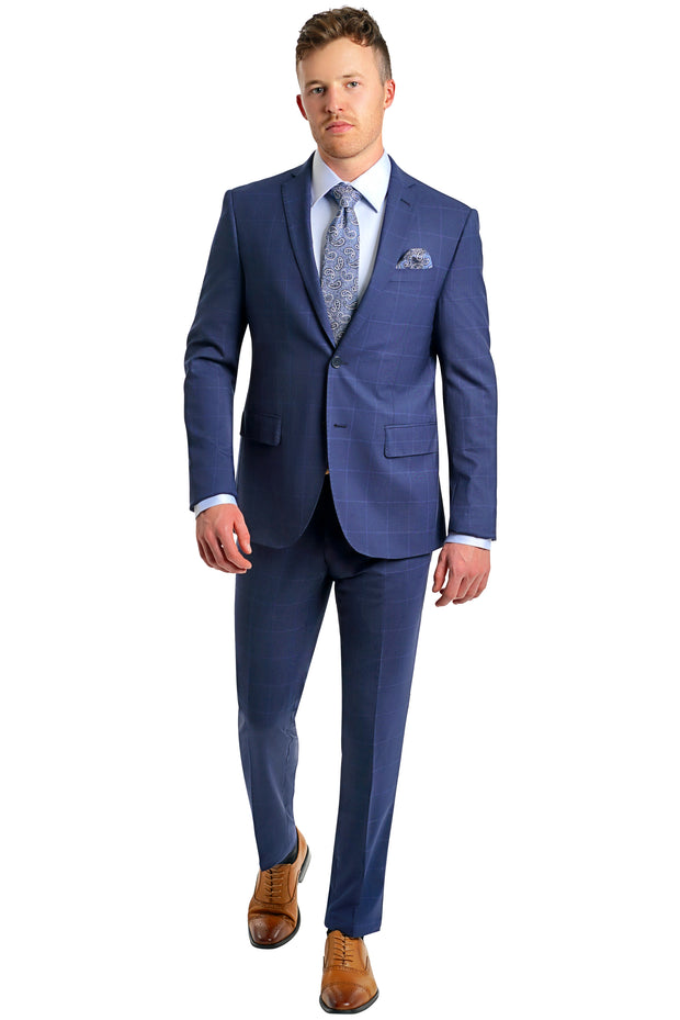 Blue Window Pane Slim Stretch - Mastroianni Fashions