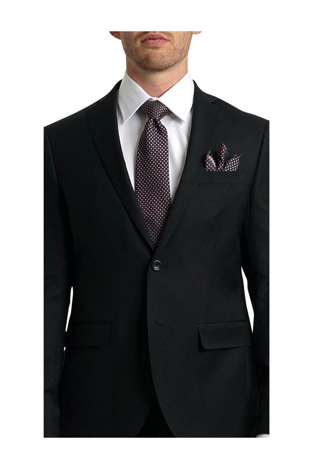 Lazarou European Black Suit Slim - Mastroianni Fashions