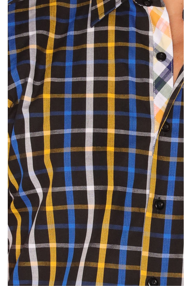 Sambuca Navy/Gold Plaid Shirt