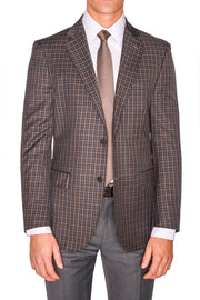 Lazarou Brown/Grey Plaid Jacket