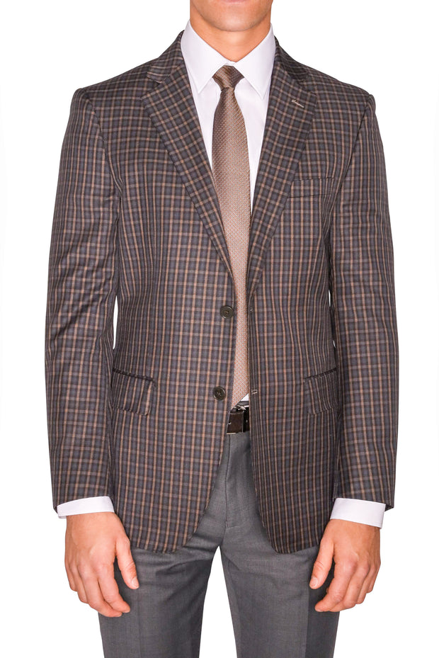 Lazarou Brown/Grey Plaid Blazer