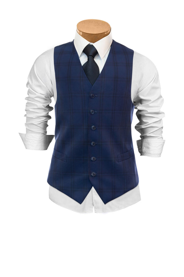 Lazarou Blue Plaid  Vest