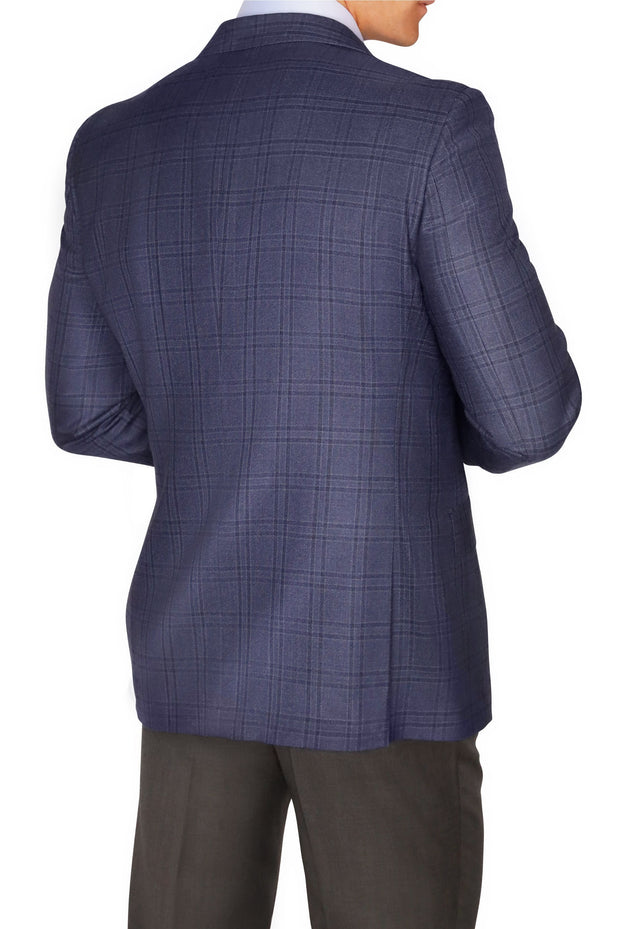 Lazarou Navy Grey Windowpane Blazer