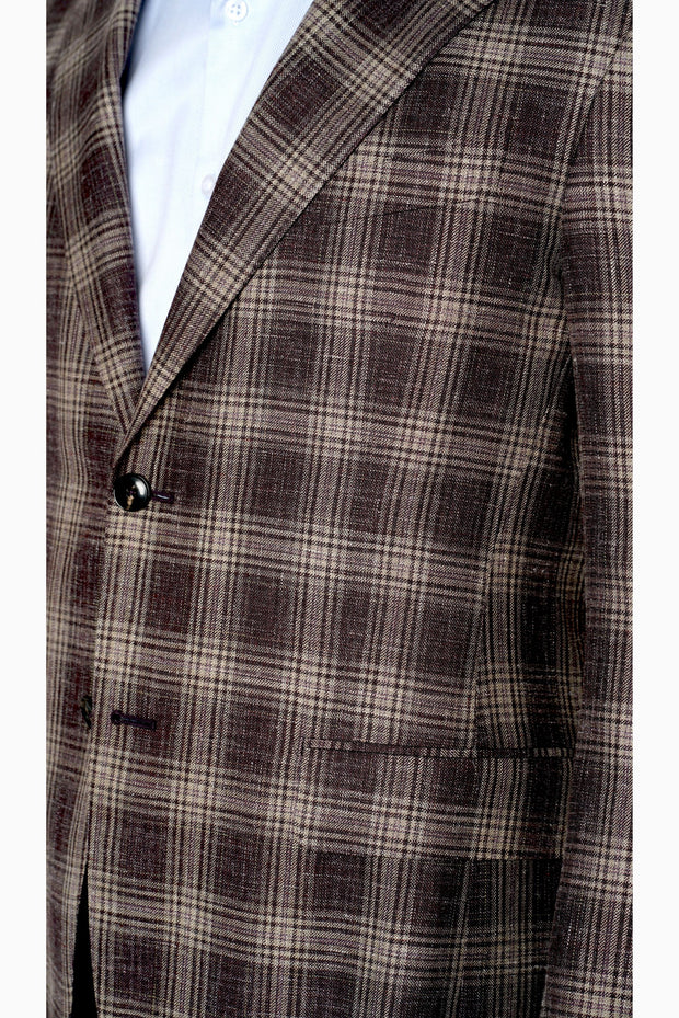Pal Zileri Lightweight Burgundy Plaid - Mastroianni Fashions