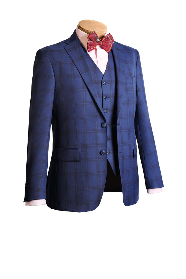 Lazarou Blue Navy 3 Piece Suit