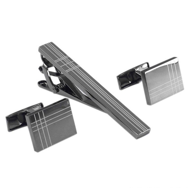Square Stripe Tie Clip/Cufflinks Set - Mastroianni Fashions