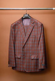Blush Red & Light Blue Plaid Classic Fit Suit