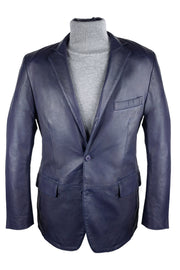 Blue Leather Blazer