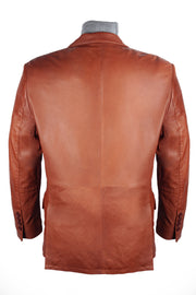 Cognac Leather Blazer