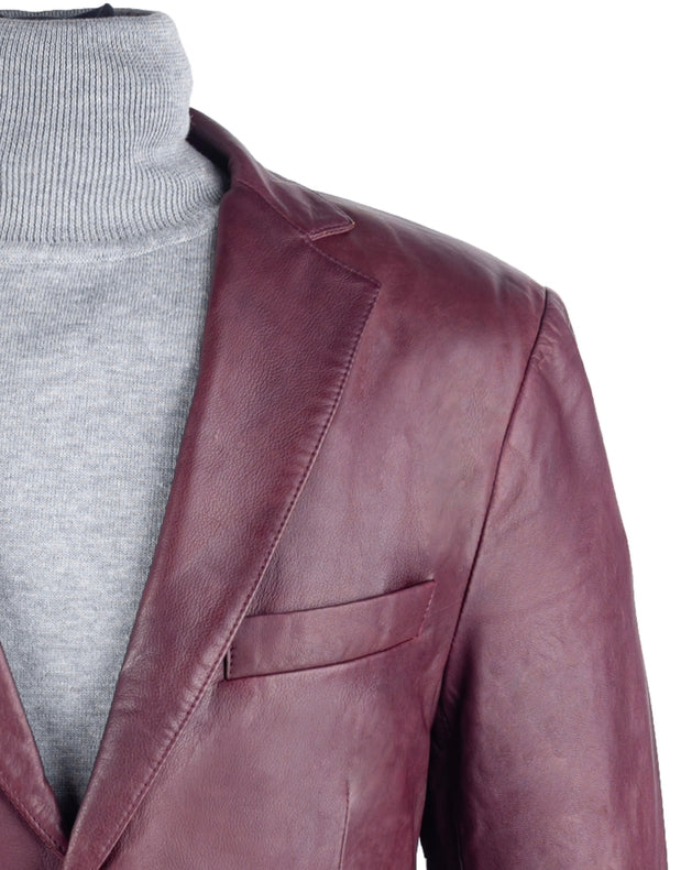 Burgundy Leather Blazer