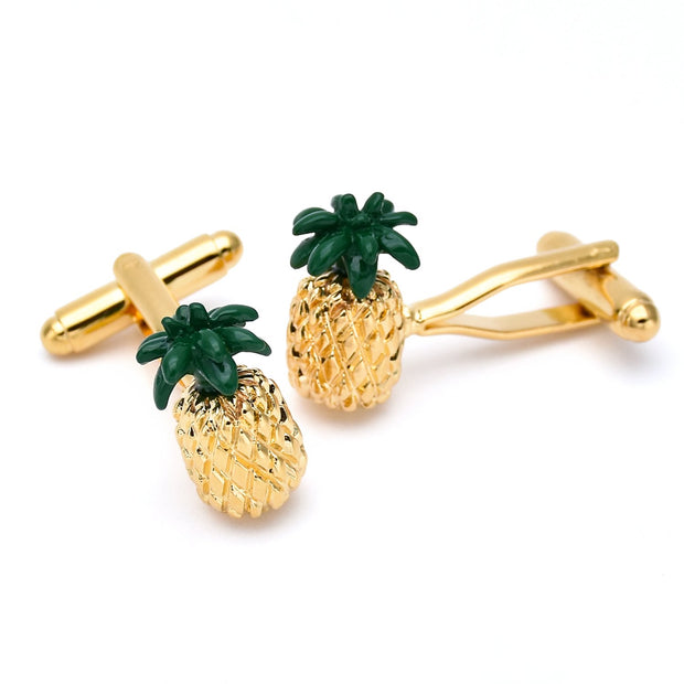 Golden Pineapple Cufflinks-Fashion Accessories-Mastroianni Fashions
