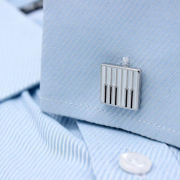 Piano Keys Design Dress Shirt Cufflinks - Mastroianni Fashions