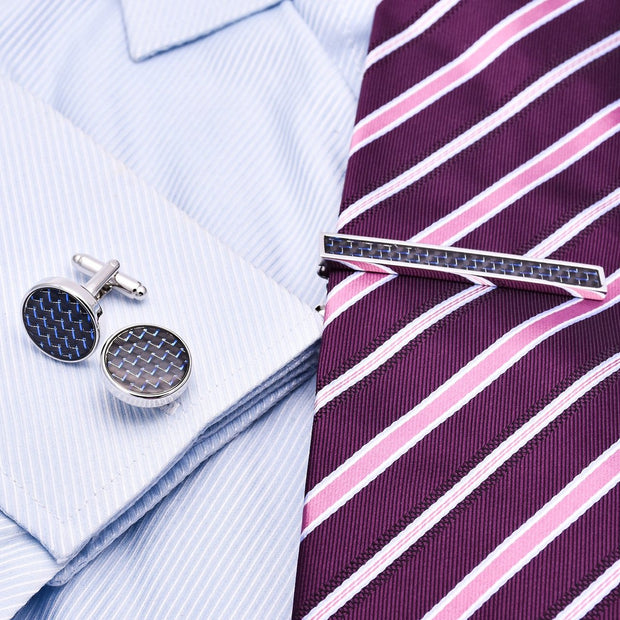 Carbon Fibre Cufflinks and Stickpin Set-Fashion Accessories-Mastroianni Fashions