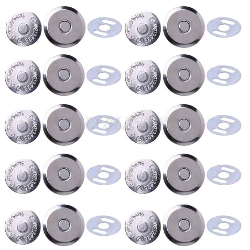 10 Sets Metal Magnetic Snap Clasps 14mm 16mm For Sewing Purse Handbag Bag Craft