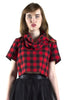 Buffalo Plaid Cowlneck Crop Top