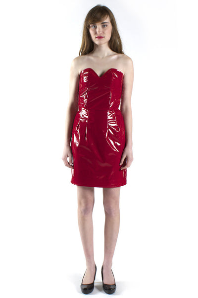 Strapless Red Vinyl Cocktail Dress