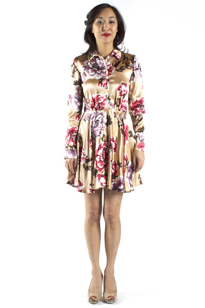 Longsleeve Tan Floral Shirtdress