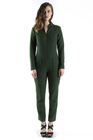 Green Tweed Jumpsuit