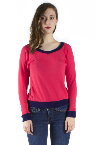 Coral and Blue Sweater