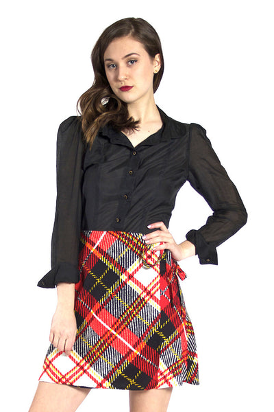 Multicolored Plaid Wrap Skirt