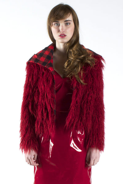 Reversible Red Shag and Buffalo Plaid Jacket