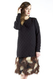 Quilted Fur Sweatshirt Dress