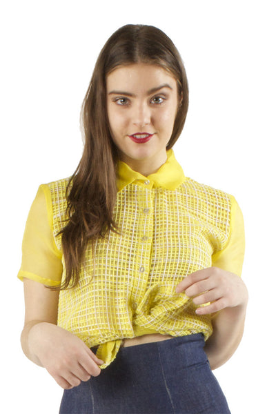 Yellow Organza Blouse with Net Overlay