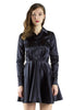 Black Satin Cocktail Shirt Dress