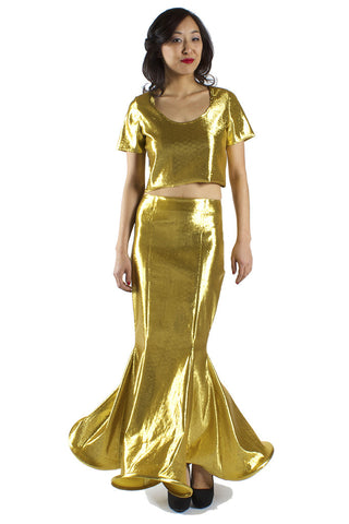 Metallic Gold Mermaid Maxi Skirt