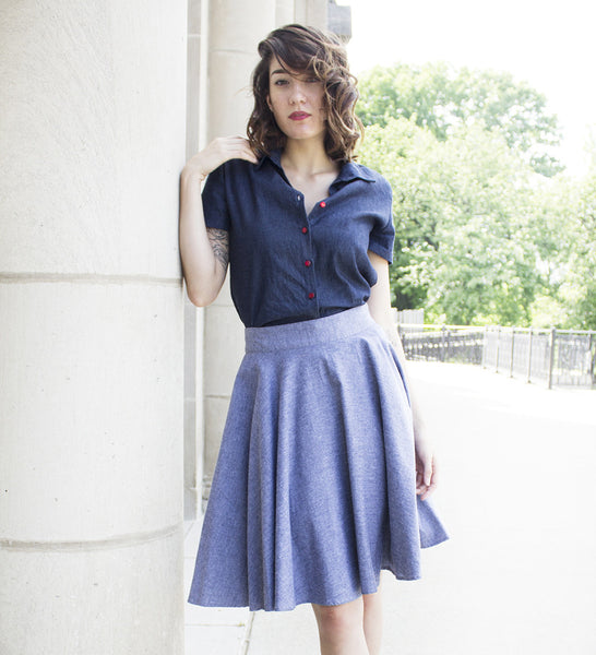 Light Blue Chambray Circle Skirt