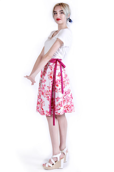 Reversible Floral Wrap Skirt