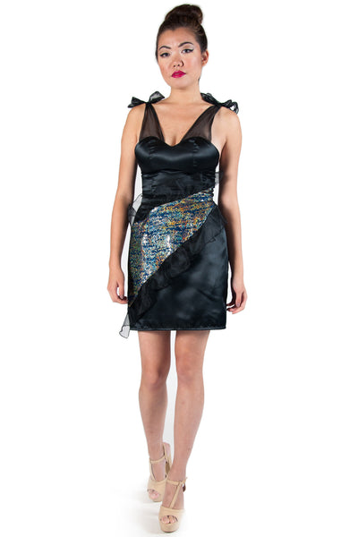 Tailored Satin with Blue, Black and Gold Abstract Panel Cocktail Dress
